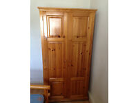 wardrobe in real pine wood with shelve and hanger bar