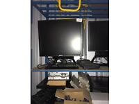 Monitor and computer and keyboard