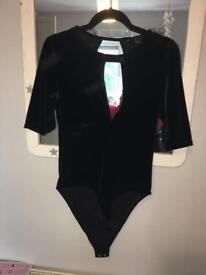 Crushed velvet black body suit