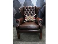 Stunning Vintage Chesterfield Wing Back Chair in Brown Leather - UK Delivery