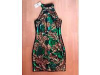 BNWT QUIZ SPARKLY HALTER-NECK DRESS SIZE 10