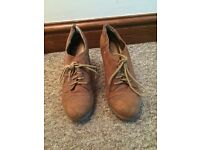 Woman's shoes brown suede wedges