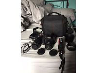 Canon EOS 750d DSLR Camera with 18-55mm and 55-250mm lenses + other extras