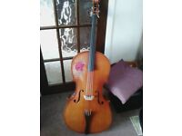 Full Size Cello altered and decorated for folk music.