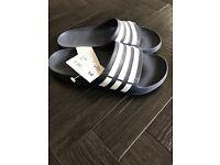 Adidas Duramo Slides in navy/white. Size 10