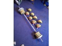 York 2 X dumbbell set and lifting bar 100lb of weights