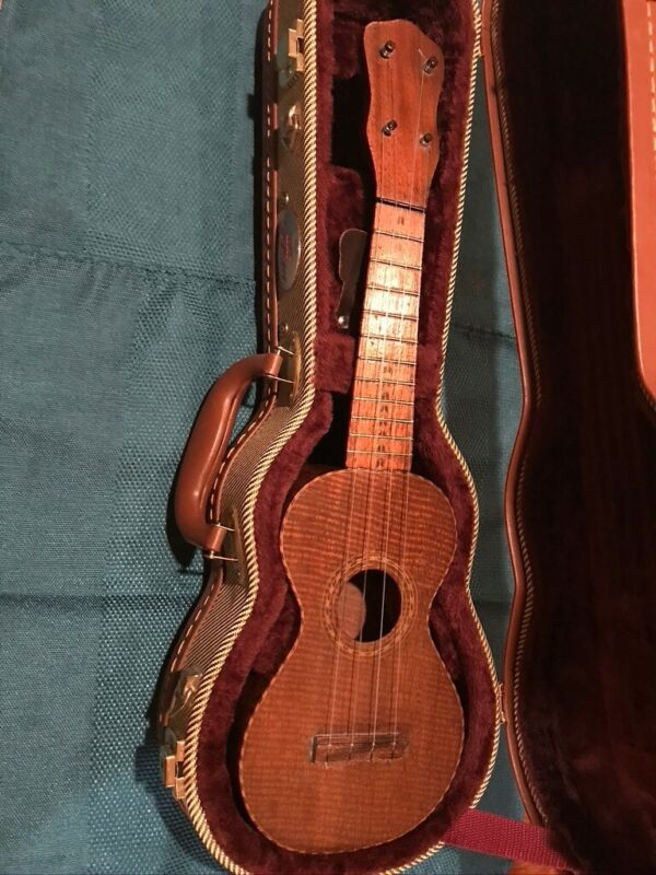 Vintage 1920s Soprano Solid Koa Ukulele. Highly Figured in perfect condition.