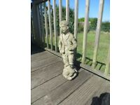 61cm (2ft) Old Stone Garden Statue - Boy with Catapult - Nicely Weathered
