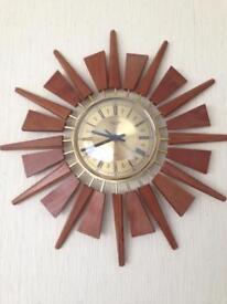 Vintage Starburst / Sunburst Teak Clock