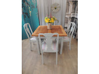 Vintage shabby chic oak extending dining table and four chairs