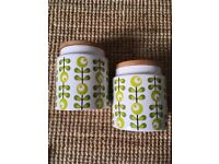 Vintage looking retro kitchen cannisters storage jars Orla Kiely style 60s 70s look As New