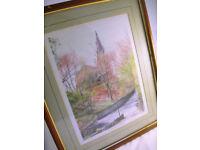 Barry Tomlinson Framed Signed Print 'Parish Church of Emmanuel Holcombe' 11/50 VGC