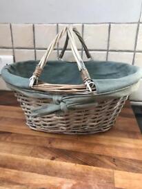 Lovely Grey Wicker Shopper Style Basket