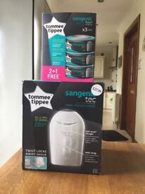 Tommie Tippee Sangenic tec Nappy Disposal System + 3 refills Unused & still in boxes. £15.00