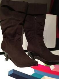 Office brown knee length suede boots