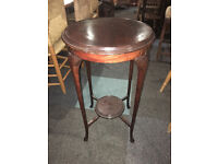 Lovely Antique Mahogany Round Decorative 2 Tier Side Table/Lamp Table