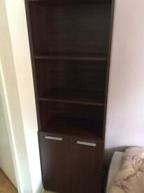 Mahogany Wenge Effect Tallboy Bookshelf Cupboard - 3 shelves tall