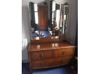 Antique / vintage, art deco / nouveau wardrobe mother of pearl inlay. and matching dresser £100