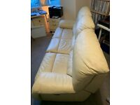 3 Seater Leather Reclining Sofa + 2 Electric Recliner Chairs - Set