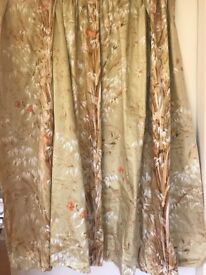 Beautiful Pale Gold, White & Coral Curtains, Satin Cotton, Fully Lined, Excellent Quality
