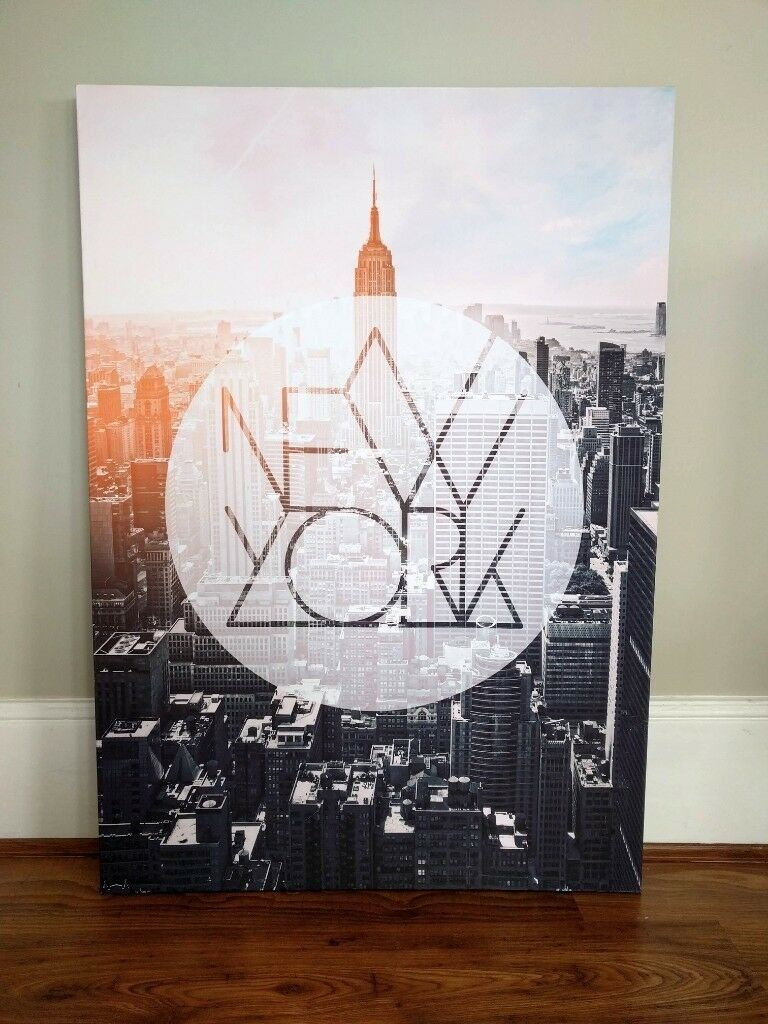Like New* Stylish Large Wooden Frame New York City Canvas Art Print ...