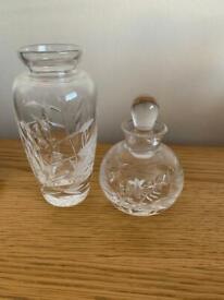 2 cut glass items