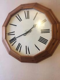 Large solid wood wall clock in great condition
