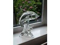 Vintage signed L. Zanetti solid crystal glass fish statue