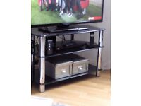 Used tv stand and glass coffee table