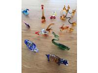Vintage 1950s hand blown murano glass animals .