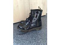 Dr Marten black patent boots
