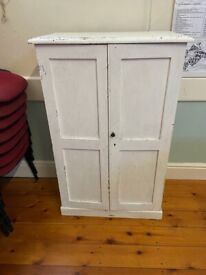 old pine cupboard painted white