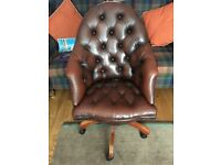 Brown Leather Chesterfield Captains chair