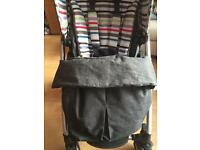 Mamas and papas sola pushchair with raincover and footmuff.