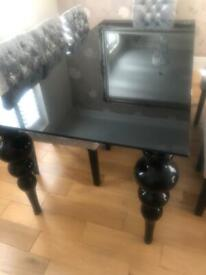 Black glass House of Fraser dinning table sits 8 REDUCED price