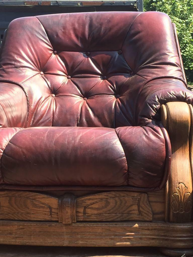 Leather armed chair