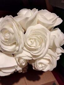 White rose on wire stem