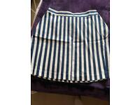 Ladies navy and white stripe skirt