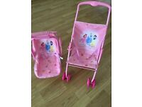 Dolls buggy and swing