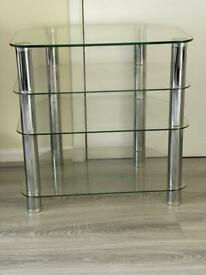 4 shelf glass tv unit