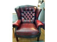 Leather wing back chair, oxblood red, great condition