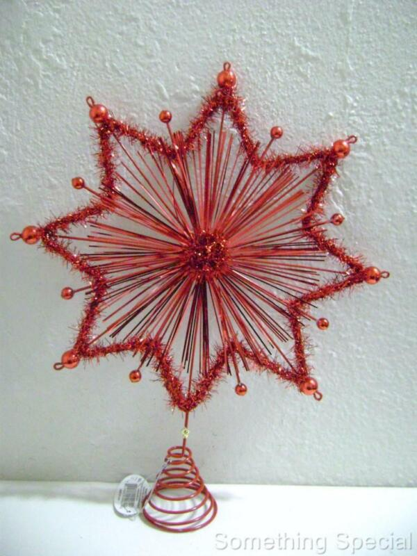 Red Star w/Tinsel & Glitter Christmas Tree Topper - Midwest - CBK #04960