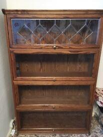 Oak veneer display cabinet