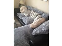 corner chaise lounge luxury sofa grey silver mink crushed velvet black leather settee w. armchair