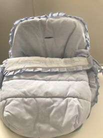 Beautiful baby boy car seat cosy toes