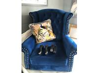 TWO beautiful blue velvet fireside chairs
