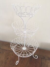 White fruit basket with three layers - 10 inches wide on bottom layer