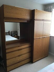 Wardrobe, dressing table, chest of drawers and 2 bedside tables