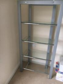 Silver shelf unit