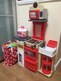 Little Tikes Cook n Store Play Kitchen, foldable , suitable for small spaces, play food, used